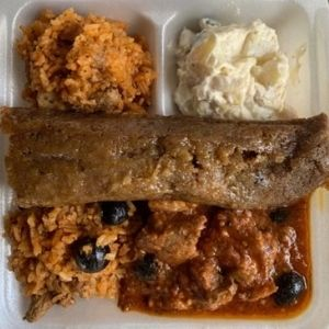 Combo Plate Gandule Rice, Pastele Stew